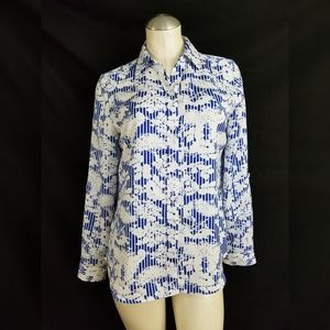 Chico's Size 0 S Button Down Shirt Blue Off White